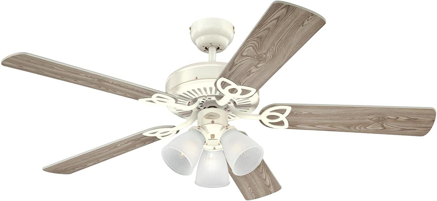 Westinghouse Lighting 7862720 Vintage Three-Light 52-Inch Reversible Five-Blade Indoor Ceiling Fan, White with Frosted Ribbed Glass Shades