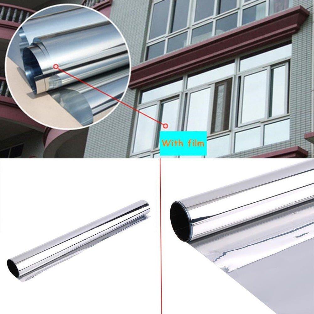 JiaQi Privacy window film,Sun protection film,Mirror 1 x mirror silver 20% solar reflective Window film Privacy One-way mirror-A 50x200cm(20x79inch)