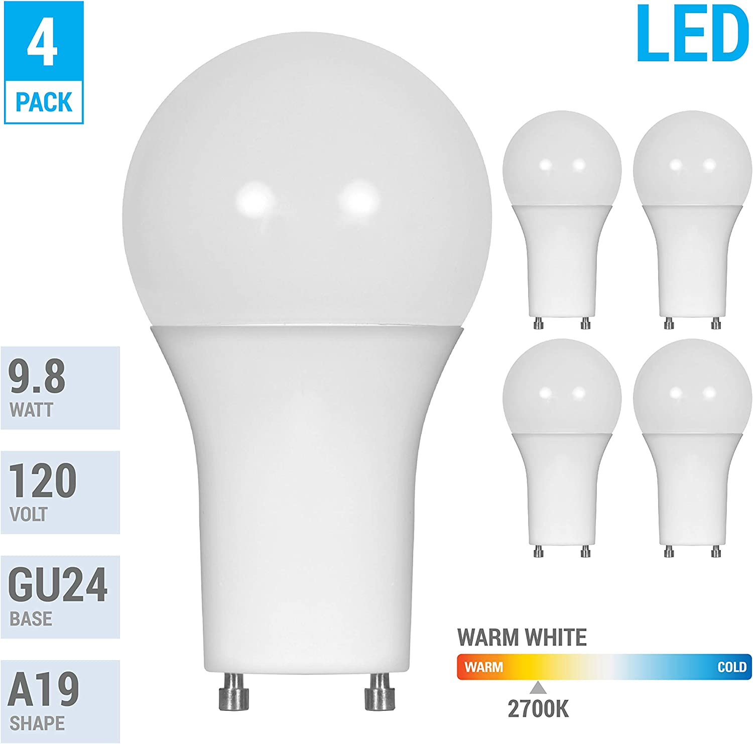 LED GU24 A19 Light Bulbs 60 Watt Equivalent, 9.5 Watt Dimmable Lights for Home with Twist & Lock Base, Replacing CFL GU24 Ceiling Light, Omni 220 Degree Beam Angle, 800 Lumen. (Warm White (2700K))