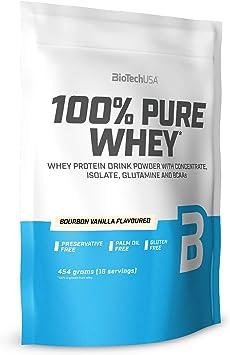 BioTechUSA 100% Pure Whey Complejo de proteína de suero, con aminoácidos añadidos y edulcorantes, sin conservantes, 454 g, Vainilla Bourbon