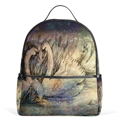 ALAZA Cisnes de la natación cañas Pintura Mochila para School Bookbag