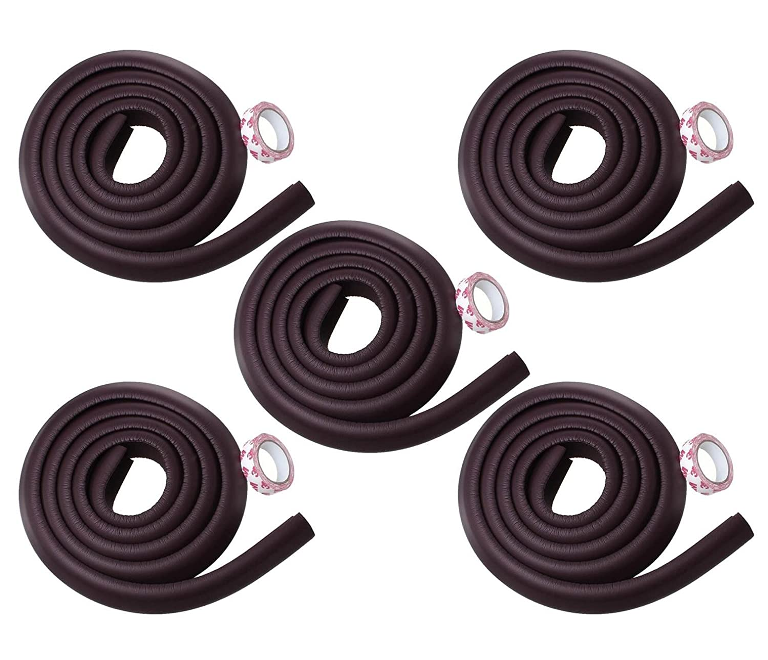 0-Degree Baby Safety Furniture Edge Cushion Corner Cover Guard, Brown, 5 Pieces