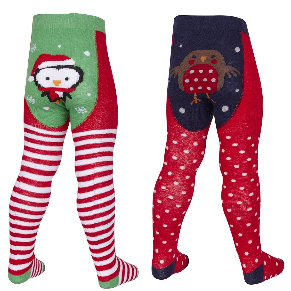 2 Pack - Baby Girls Cotton Rich Novelty Christmas Tights Metzuyan