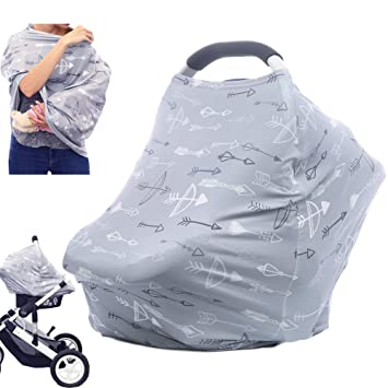 Multi-Use Breastfeeding Nursing Cover Baby Carseat Canopy Infant Stroller Covers Blue Grid