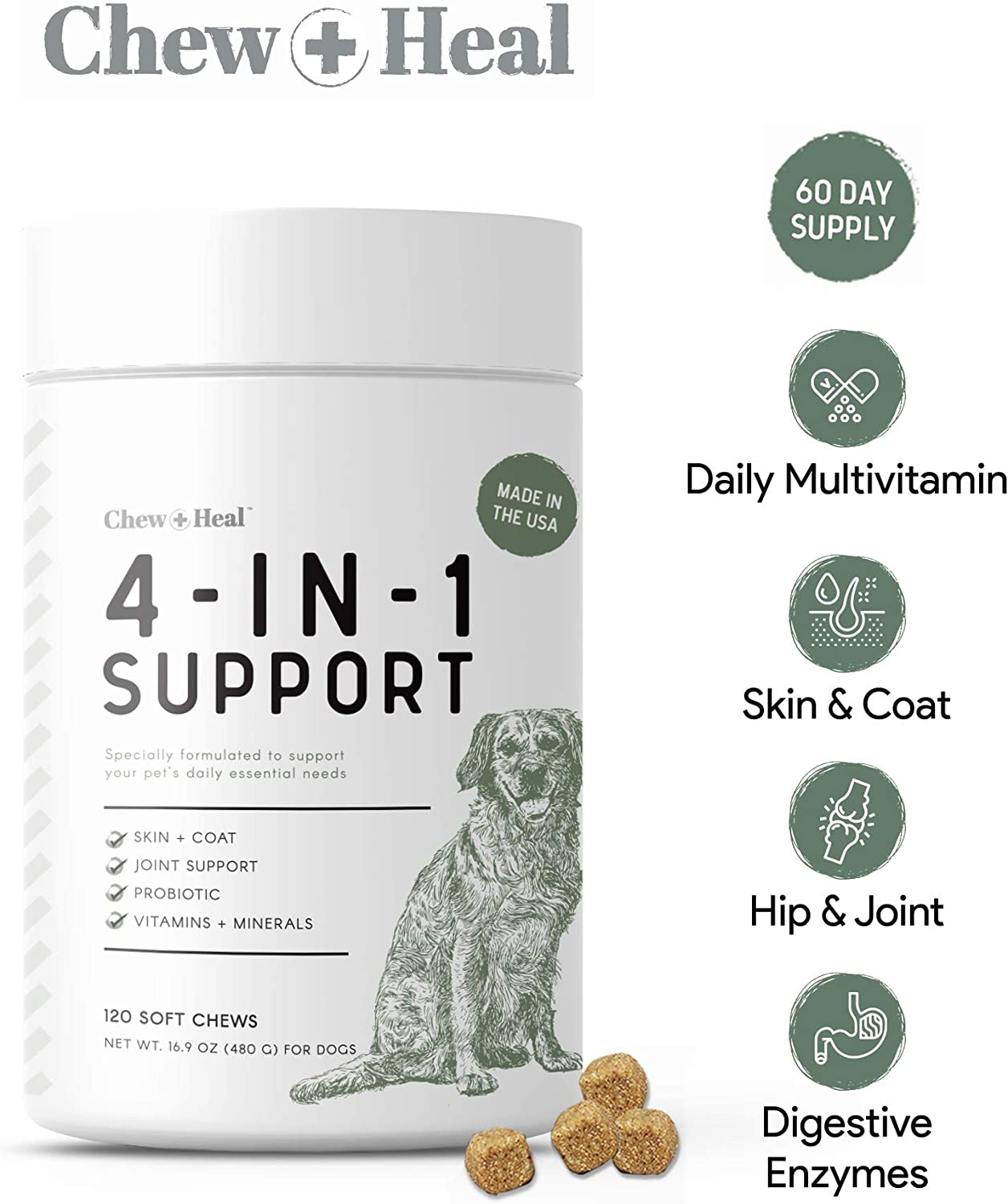 Chew + Heal 4 in 1 Dog Vitamins - 120 Soft Chews - Chewable Multivitamin with Probiotics, Digestive Enzymes, for Skin and Coat, Hip and Joint Support - with Omega, Calcium, Vitamins A, B, C, D, E