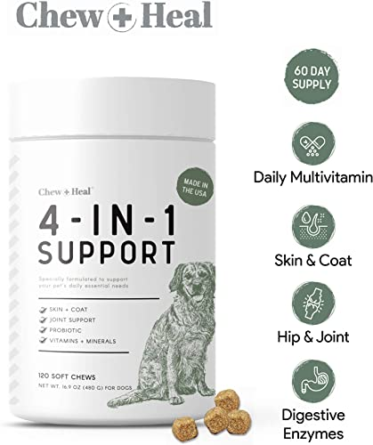 Chew Heal 4 in 1 Dog Vitamins – 120 Soft Chews – Chewable Multivitamin with Probiotics, Digestive Enzymes, for Skin and Coat, Hip and Joint Support – with Omega, Calcium, Vitamins A, B, C, D, E