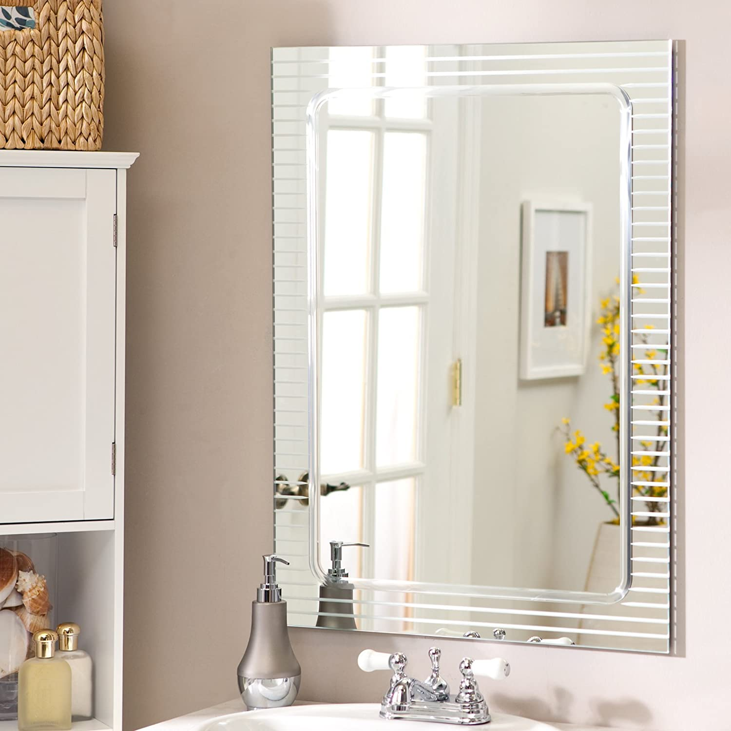 Amazon frameless wall mirror home kitchen amipublicfo Image collections
