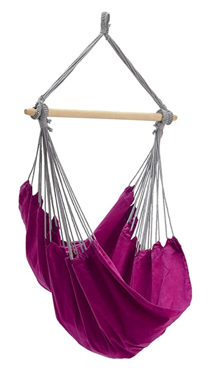Byer of Maine Panama Hanging Hammock Chair by, Indoors and Outdoors, EllTex Cotton/Polyester Blend Fabric, Berry, 58 L X 39 W, Holds up to 240lbs