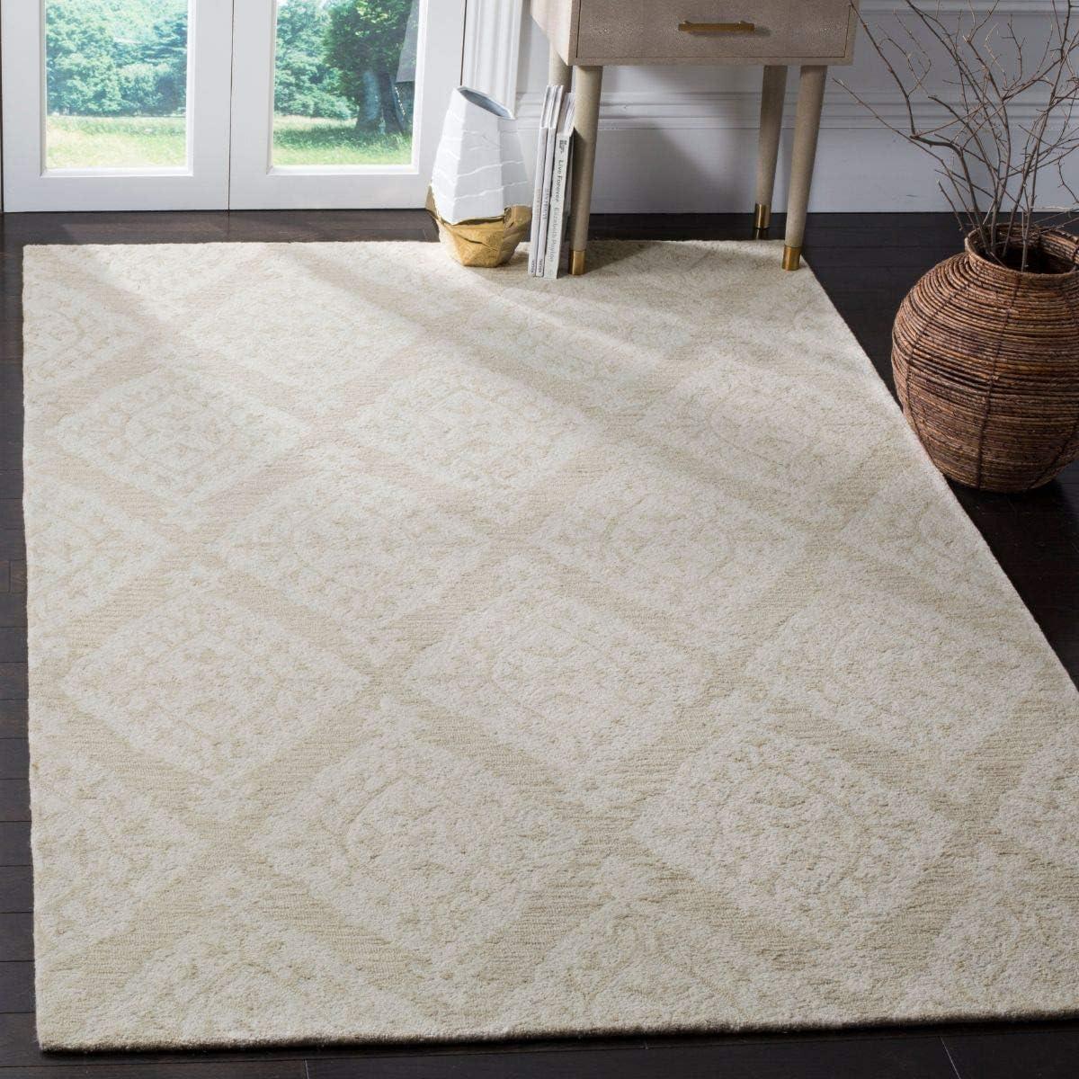 Safavieh Micro-Loop Collection MLP210B Handmade Wool Area Rug, 8 x 10 , Beige