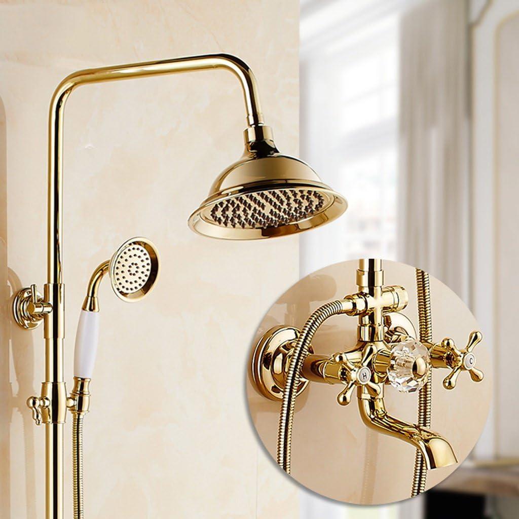 LJ Juego de ducha de chapa dorada con estilo europeo Llave de cobre completo Llave de ducha retro de mano (Tamaño : E): Amazon.es: Hogar