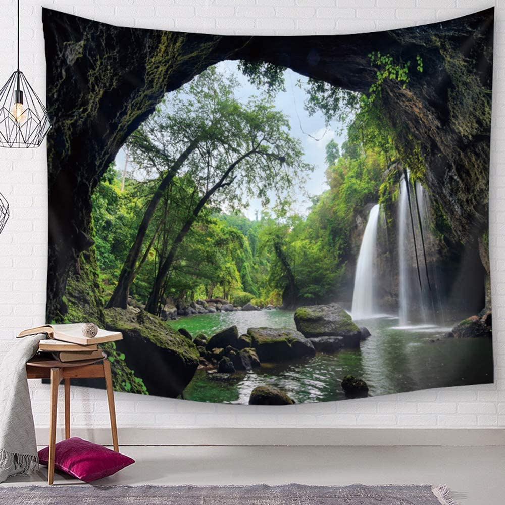 TSDA Waterfall Wall Tapestry Green Jungle Wall Hanging Tropical Forest 3D Mountain Tree Nature Landscape Tapestry (Large-79 x 59 in)