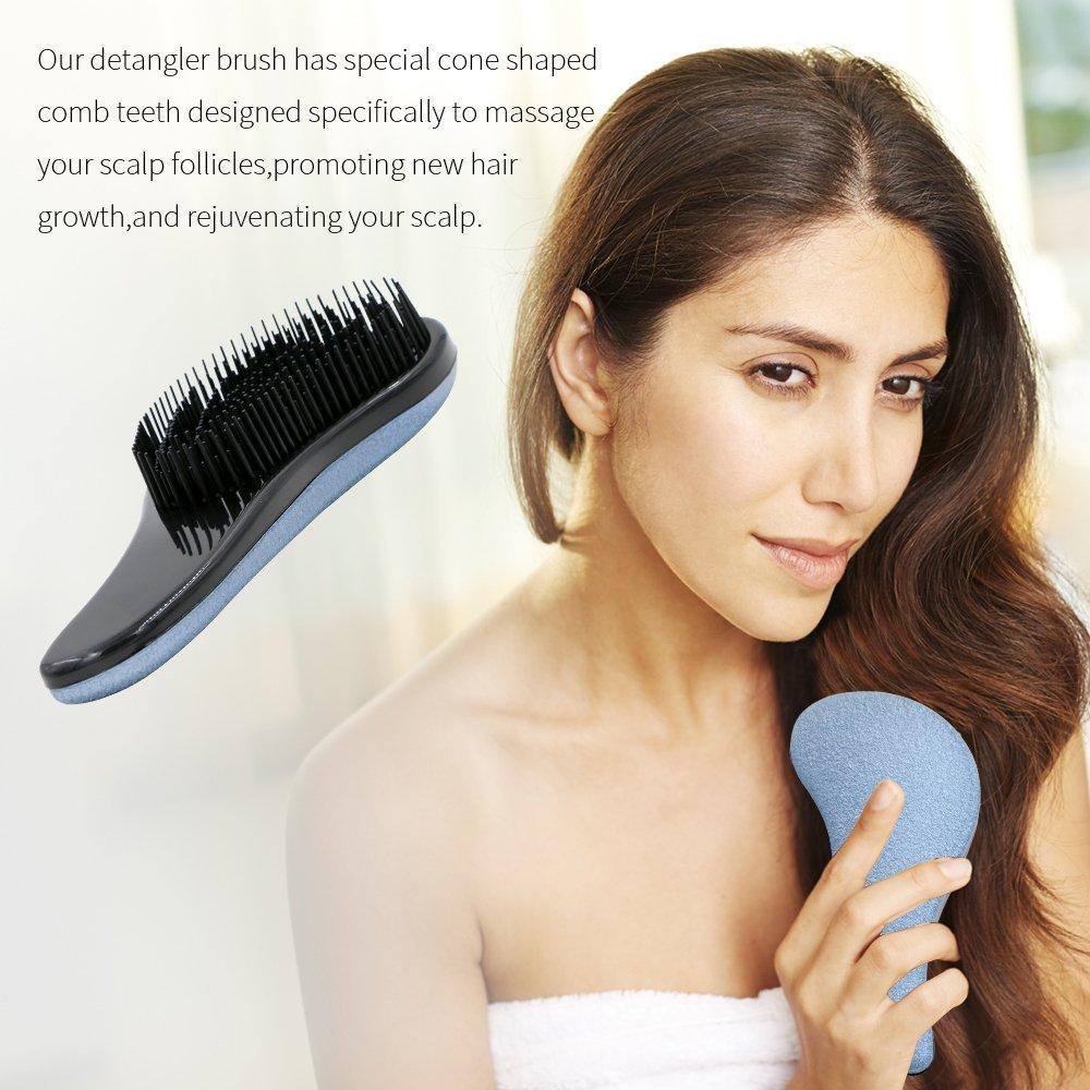 Detangler Cepillo, rusee profesional cepillo para desenredar cepillo de pelo cepillo de desenredar, resistente, sin encrespado, masaje, cuero cabelludo, ...
