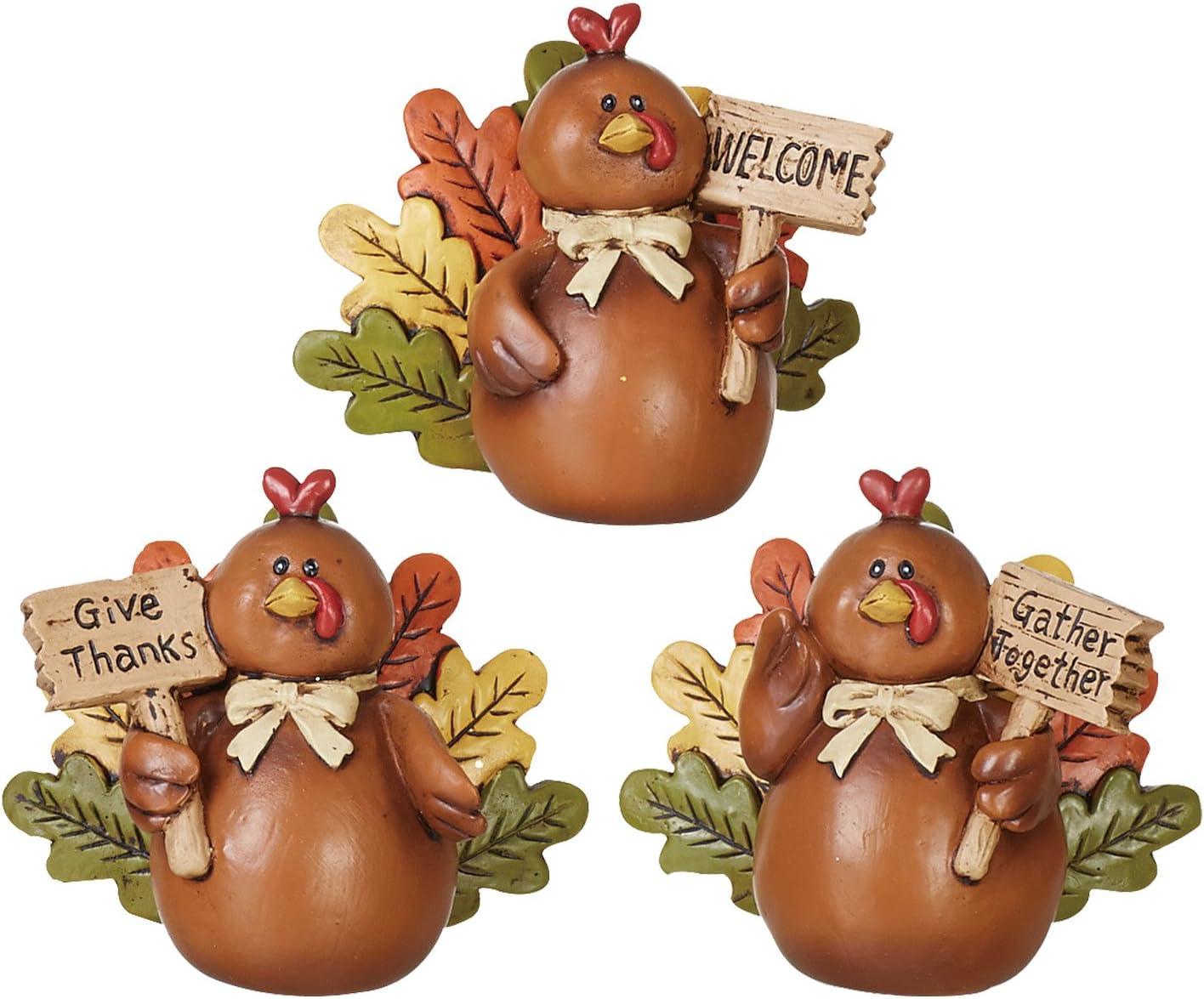 Thanksgiving Decoration - Set of 3 Turkey Decor Figures for Table Centerpiece or Shelf