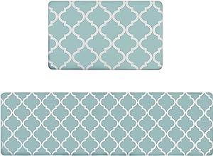 """Homcomoda 2Piece Kitchen Floor Mat Set Comfort PVC Leather Heavy Duty Standing Mats Waterproof Non Slip Kitchen Rugs Indoor Outdoor (18""""×29"""" +18""""×59"""")"""