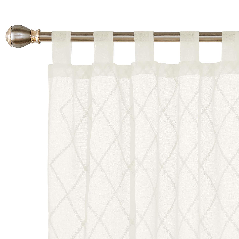 Deconovo Visillos para Ventanas Gasa Efecto Lino Cortina Transparente para Habitaci/ón Infantil 2 Paneles 140 x 175 cm Enrejado de Diamante Beige