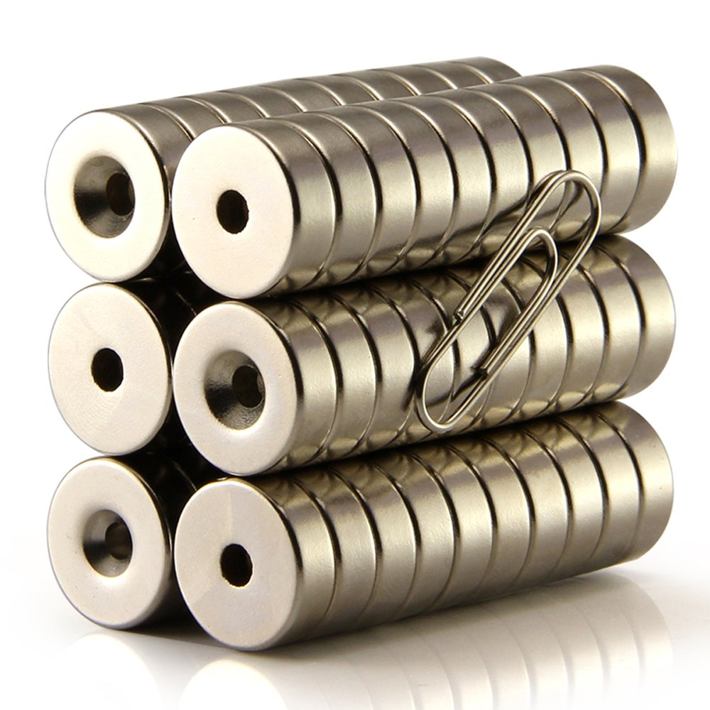 ZJWEI Magnets 12mm D Disc Countersunk Permanent Magnet Fastener 12mmX4mm,Magnets with Holes,Countersunk Hole 4mm,38N (20pcs)