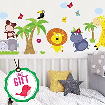 3c5dfd3a71f Animal Safari Jungle Vinyl Wall Decal for Kids Bedroom playroom -  Decorative Art Stickers for Baby