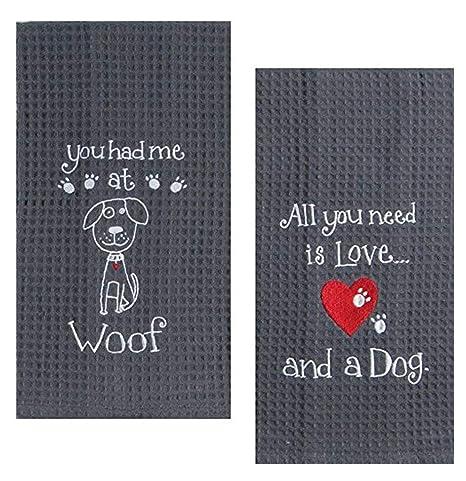 Juego de Toallas Bordadas para Amantes de los Perros, de la Marca Adula-Home