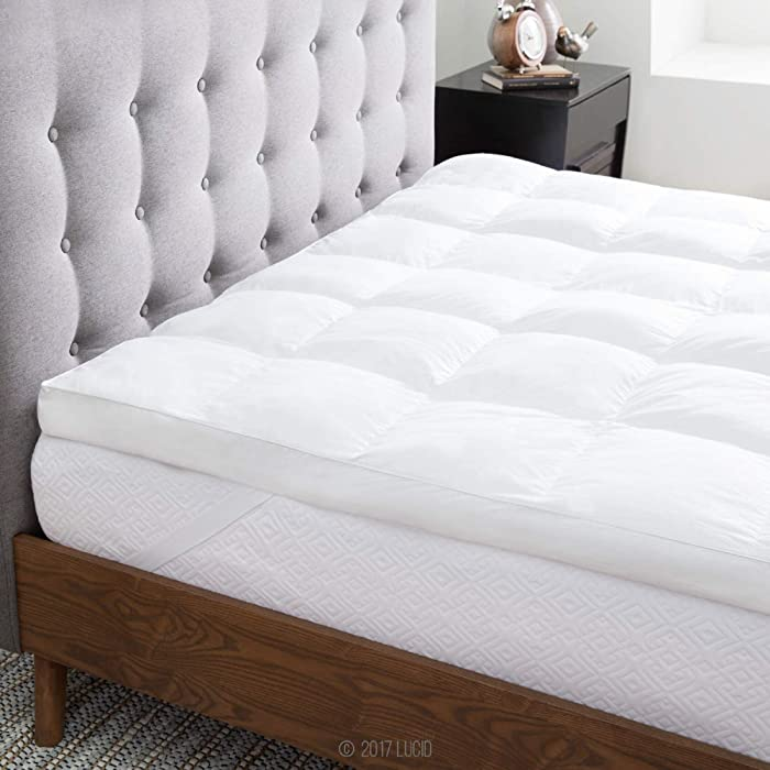 LUCID Ultra Plush 3 Inch Down Alternative Fiber Bed Mattress Topper - Allergen Free Pillow Top - Soft and Breathable Cotton Percale Cover - Full Size