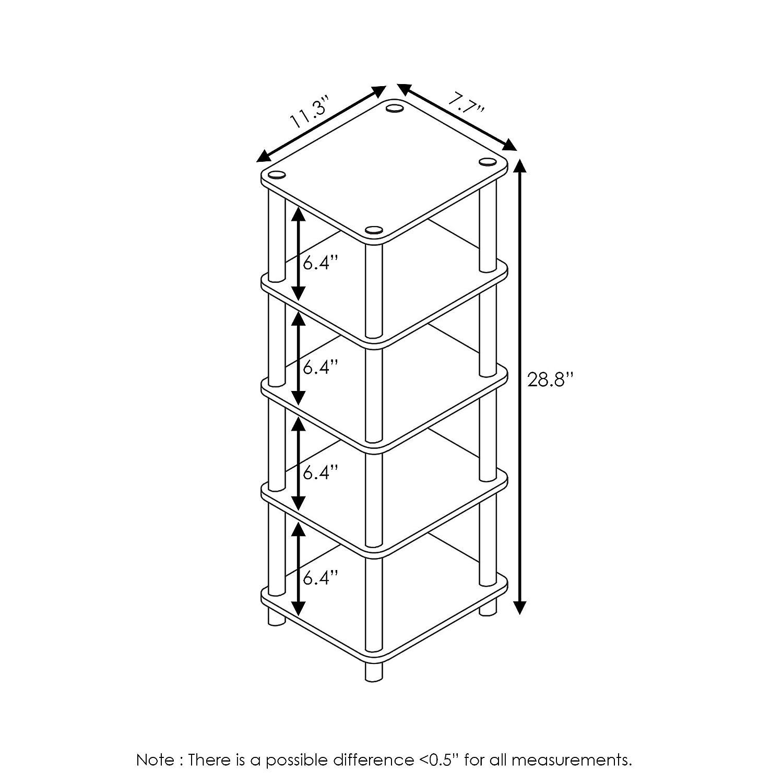Furinno 4-Bins System Rack Wood French Oak Grey//Black