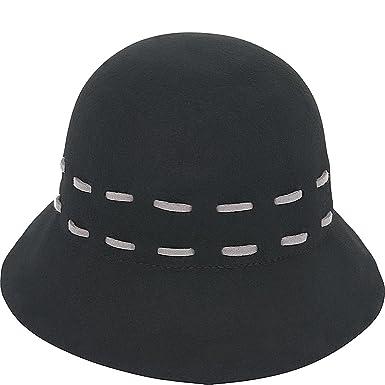 128f6203dba Adora Women s Wool Felt Cloche Bucket Winter Hat with Stitch Accent (A.  Black) at Amazon Women s Clothing store