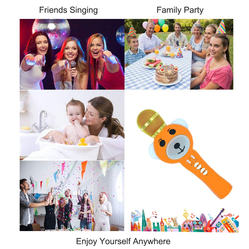 Upgraded 2019 Version Kids Karaoke Microphone with Bluetooth, Magic Voice Changer, and Flashing Multicolored LED Lights (Orange) by Garoma (Image #2)
