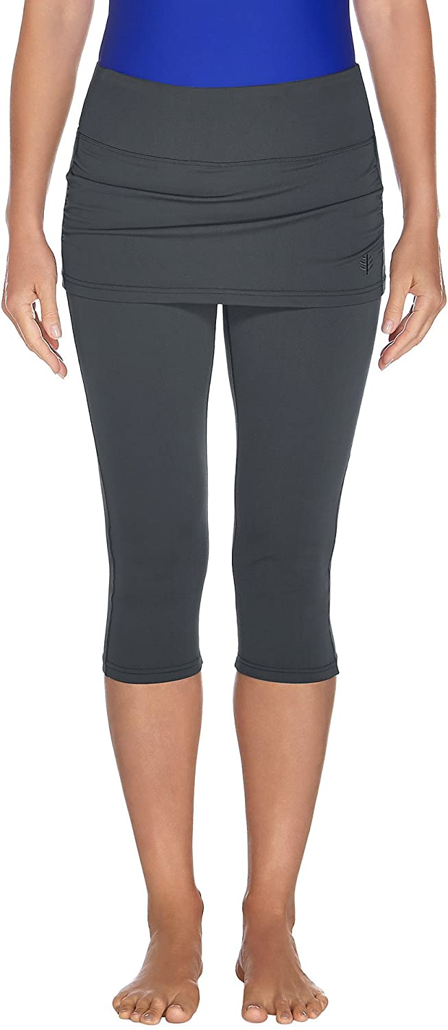 Graphite Coolibar UPF 50+ Women's Shorebreak Skirted Swim Capris  Sun Predective
