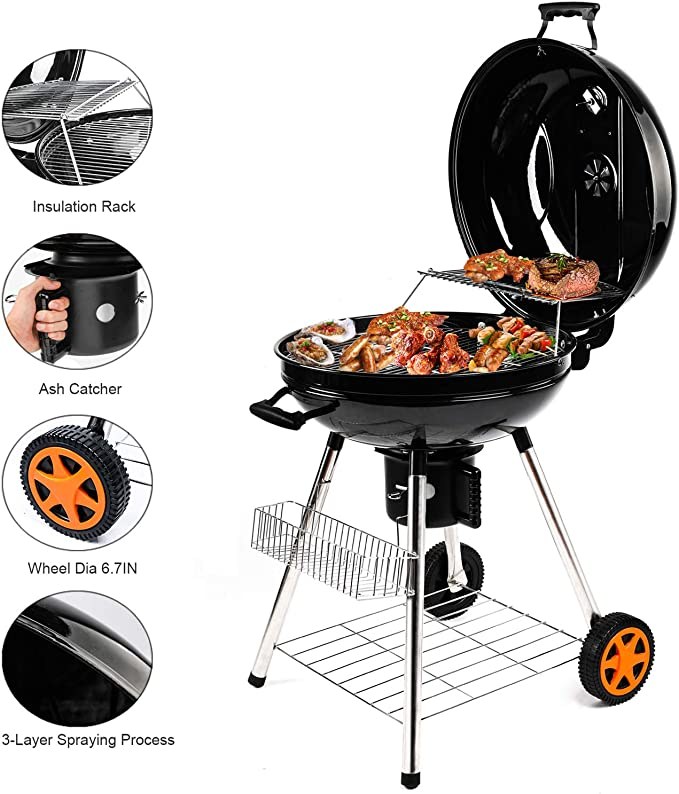 QOMOTOP 22.5'' Charcoal Grill, Portable Premium Round Grill with Storage Shelf, Easy to Clean, BBQ Grill for Yard and Camping, 3 Layer Grid, Heat Control Grill, Made of Stainless Steel