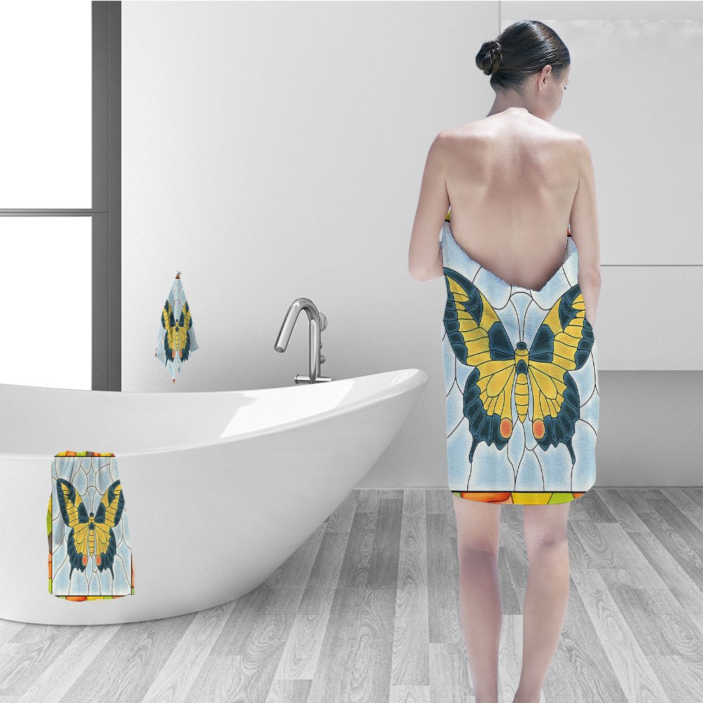 Nalahomeqq Bath towel set Butterflies Decoration Butterfly in Stained Glass Window Frame Wing Spring Garden Illustration Bathroom Accessories