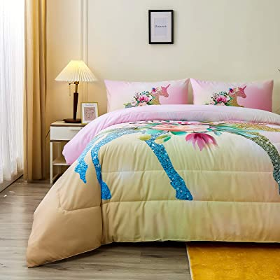 Buy Namoxpa Floral Unicorn Bedding Comforter Sets Girls Unicorn Pink Roses Comforter 3 Pieces Green Fantasy Glittery Horse Comforter Sets For Teens And Girls Queen Size Online In Indonesia B08zysdkws