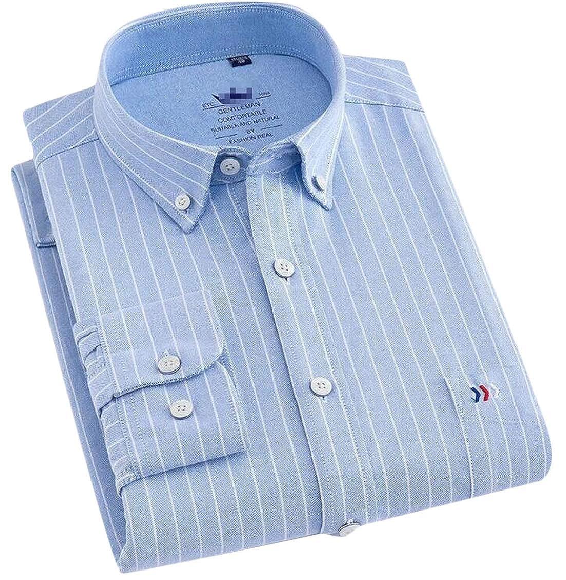 Hajotrawa Mens Regular Fit Lapel Button-Down Striped Cozy Long Sleeve Shirts