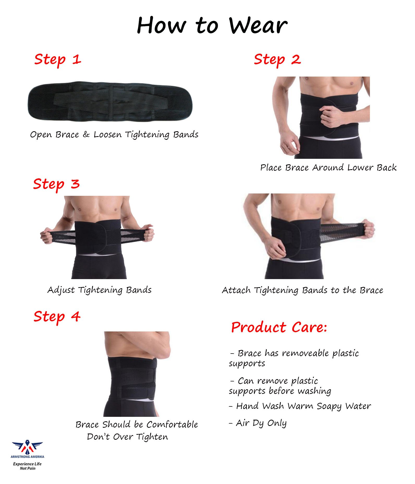 Back Brace for Lower Back Pain – Comfortable Lumbar Support Belt for Weight Lifting and Low Spine Stabilizer for Sciatica Nerve Relief or Scoliosis. Compression for Bulging Herniated Disc (Medium) by ARMSTRONG AMERIKA (Image #4)