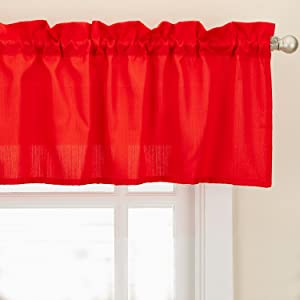 Sweet Home Collection Kitchen Window Tier, Swag, or Valance Curtain Treatment in Stylish and Unique Patterns and Designs for All Home Décor, Ribcord Red