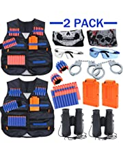 Kids Tactical Vest Kit 2 Pack for Nerf Guns N-Strike Elite Series with Nerf Tactical Vest, Handcuffs, Binoculars, Refill Darts, Reload Clips, Tactical Mask, Wrist Band and Protective Glasses for Boys