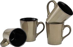 Culver Serenity Cafe Ceramic Mug, 12-Ounce, Granite, Set of 4