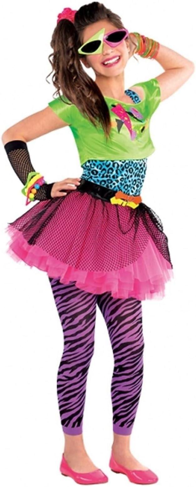 Disfraz para niñas de vestimenta de los años 80, en colores neón ...