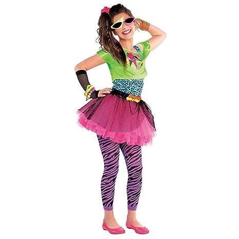 Disfraz para niñas de vestimenta de los años 80, en colores