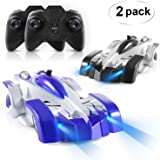 SGILE Remote Control Car Set, Pack of 2 RC Combat Car Rechargeable Wall Climber Car Kids Boy Girl Birthday Gift Present Mini Control Dual Mode 360° Rotating Stunt Car LED Head Gravity-Defying