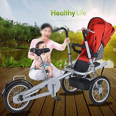 ZhaoZC Cochecito de bebé Doble 2-en-1 para niños Cochecito de Bicicleta Doble Triciclo Plegable Dos Asientos Usados Unisex para Adultos,Natural: Amazon.es: Deportes y aire libre