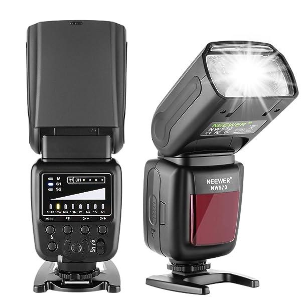 NEEWER FLASH SPEEDLITE CON SISTEMA INALÁMBRICO 2.4G Y TRANSMISOR DE 15 CANALES,  para Canon Nikon Sony Panasonic Olympus Fujifilm Pentax y otras cámaras DSLR con zapata estándar (NW570)