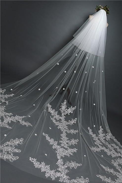 359cf026fa8b ANNA JOE da sposa lungo velo di pizzo velo da sposa di 3 metri Cattedrale  coda lunga