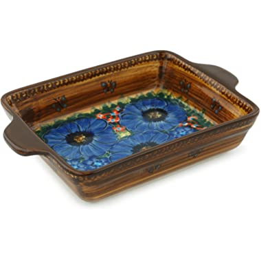 Polish Pottery Rectangular Baker with Handles 9-inch Tropical Wildflowers UNIKAT