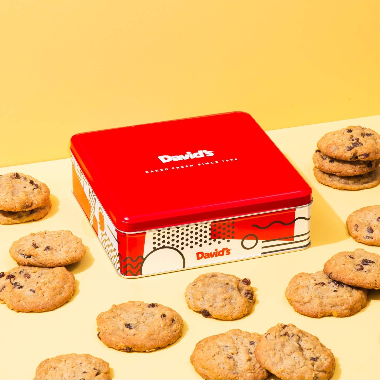 David's Cookies - 12 Fresh Baked Oatmeal Raisin Cookies Gourmet Gift Basket - Christmas, Holiday & Corporate Food Tin - Idea For Men & Women - Certified Kosher - 1 lb.
