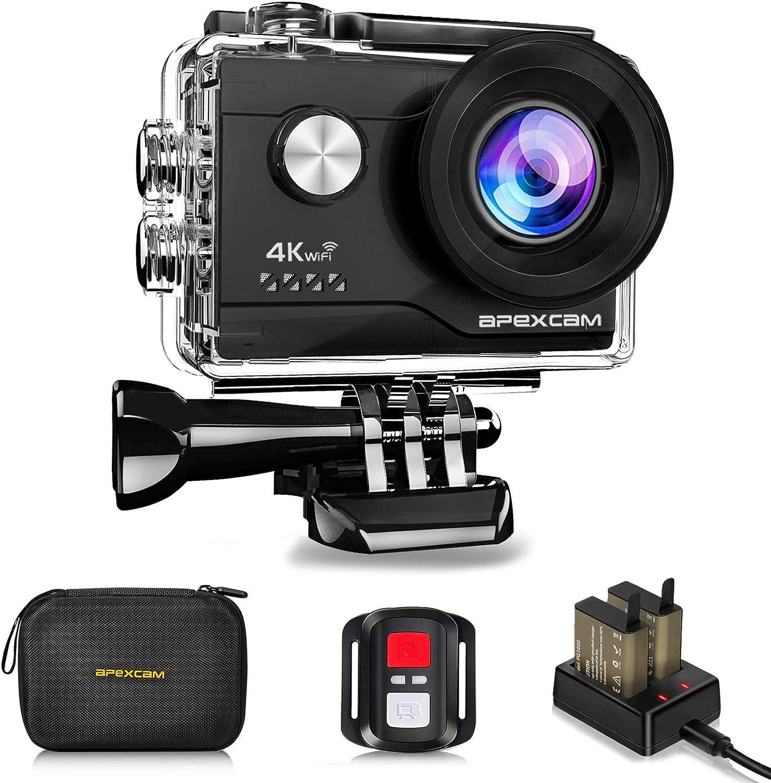 Apexcam Cámara Deportiva 4K 20MP WiFi Ultra HD Cámara subacuática Impermeable 40M Action Camera 2.0'LCD 170° Gran Angular 2.4G Remoto 2 baterías de 1050mAh y Accesorios Multiples