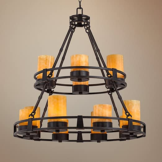 Sunset onyx stone 12 light faux candle chandelier amazon aloadofball