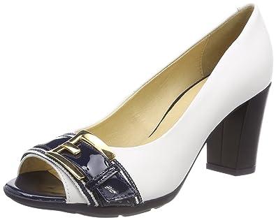 96a9a9e71fb46 Geox Women's D ANNYA SPUNTATO C Open Toe Heels, White (White/Navy C0899