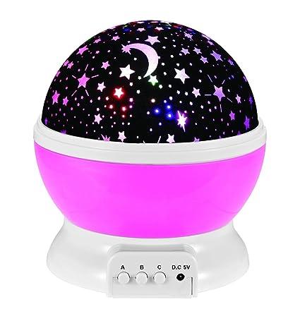 Luz nocturna lámpara de mesa proyector lámpara 4 LED Perle ...