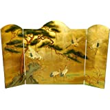Oriental Furniture Lacquer Fireplace Screen - Gold Leaf Birds and Flowers