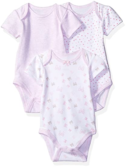 aece99ddb52 Sterling Baby by Vitamins Baby Girls' Printed and Solid Bodysuits 3 Pack  Set, Bows