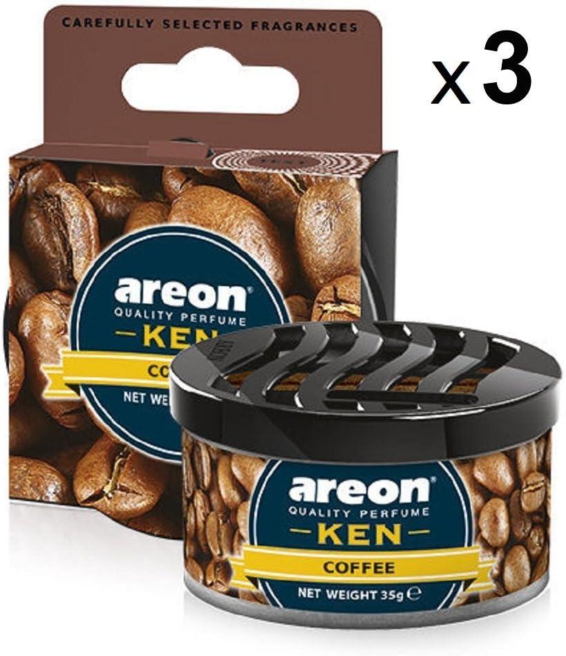 Areon Ken Lufterfrischer Dose Auto Kaffee Autoduft Duft Duftdose Wohnung Erfrischer 3D Set Coffee Pack x 3